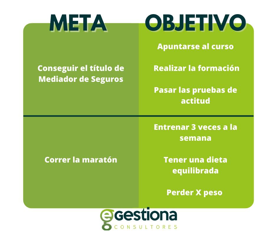 Diferencia entre meta y objetivo